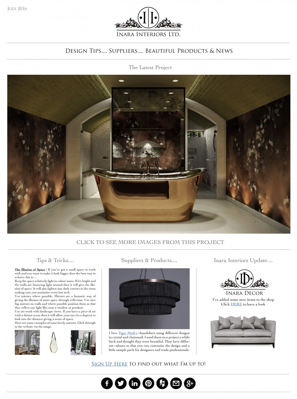 Inara Interiors Newsletter | July 2016