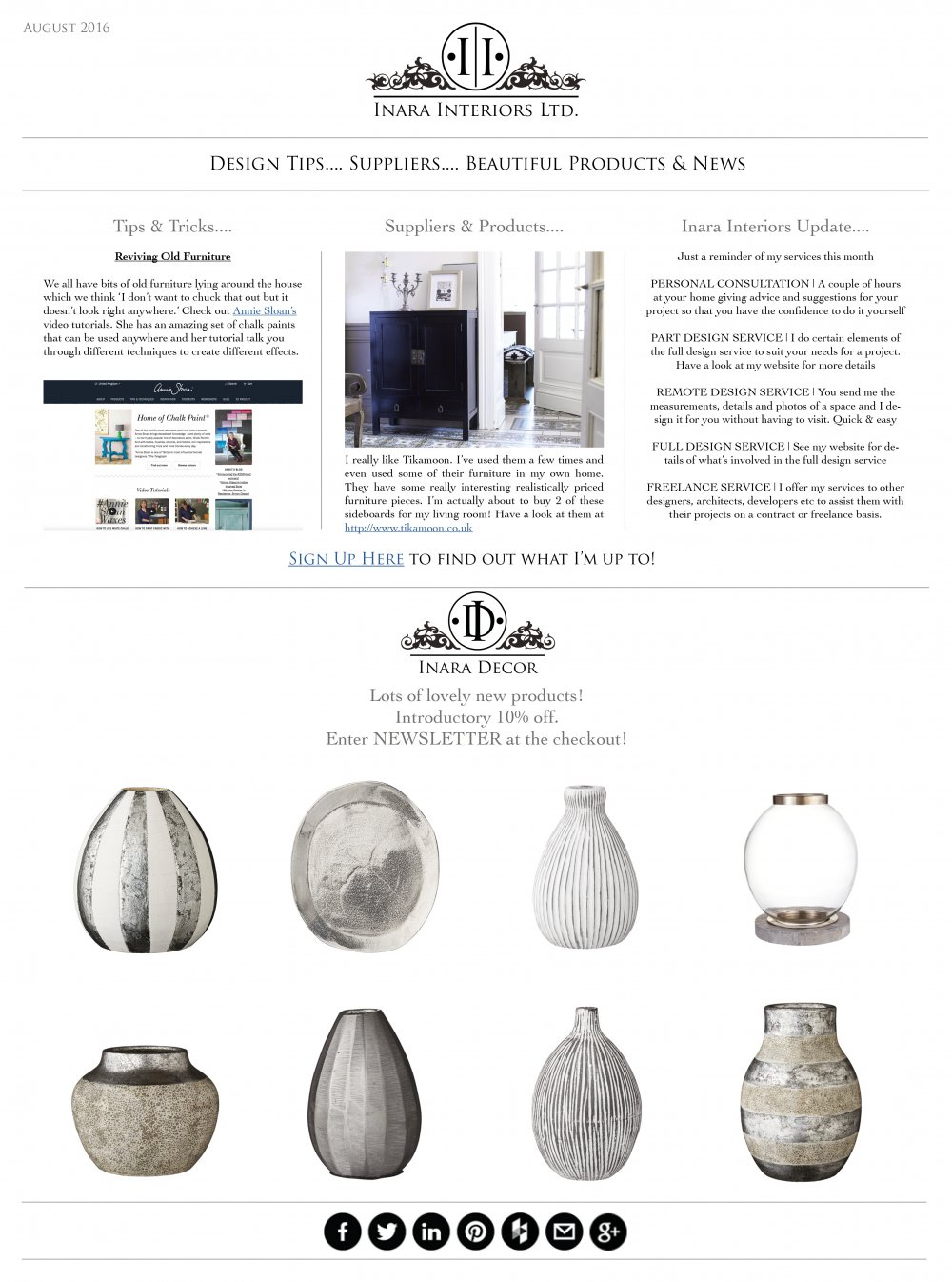 Inara Interiors | August Newsletter 2016