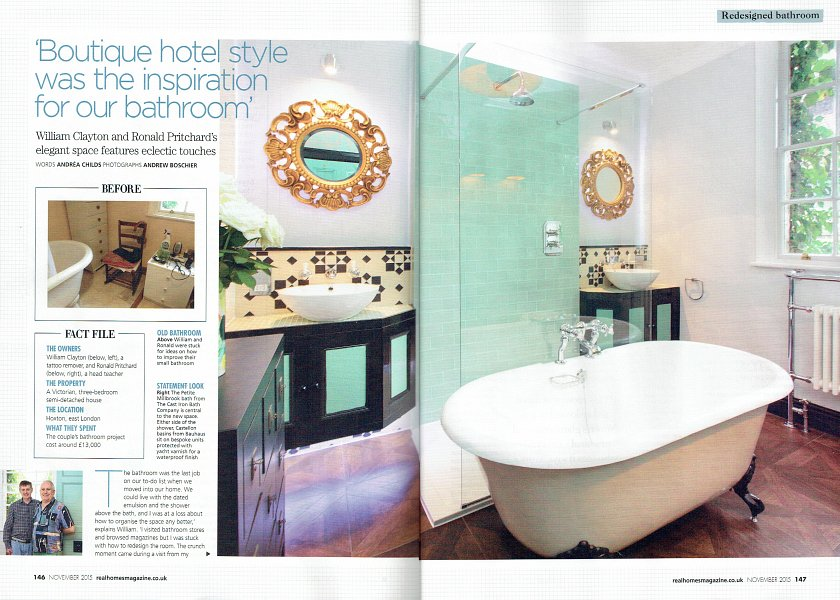 Real Homes article - Inara Interiors London Bathroom spread 1.