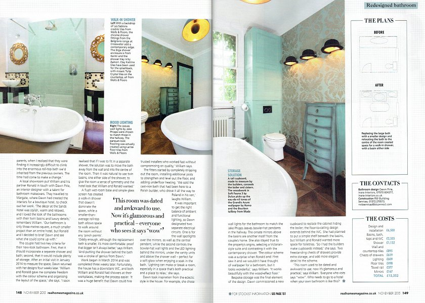 Real Homes article - Inara Interiors  London Bathroom spread 2.